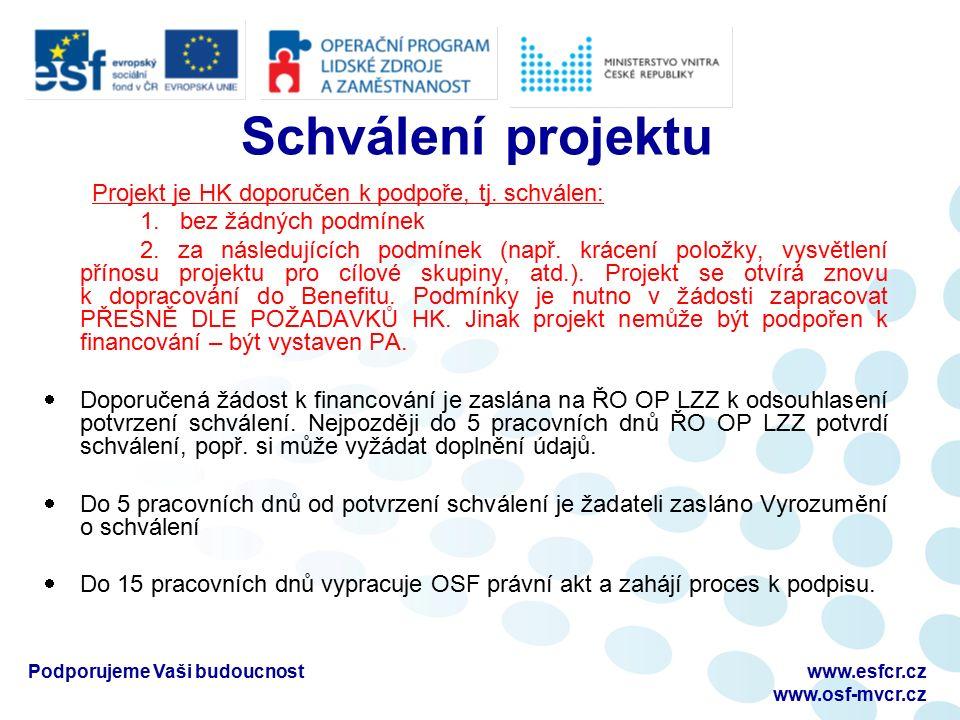 Podporujeme Vaši budoucnostwww.esfcr.cz www.osf-mvcr.cz Schválení projektu Projekt je HK doporučen k podpoře, tj.