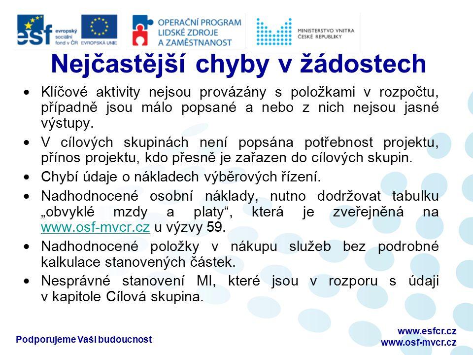 Podporujeme Vaši budoucnost www.esfcr.cz www.osf-mvcr.cz Nejčastější chyby v žádostech  Klíčové aktivity nejsou provázány s položkami v rozpočtu, případně jsou málo popsané a nebo z nich nejsou jasné výstupy.