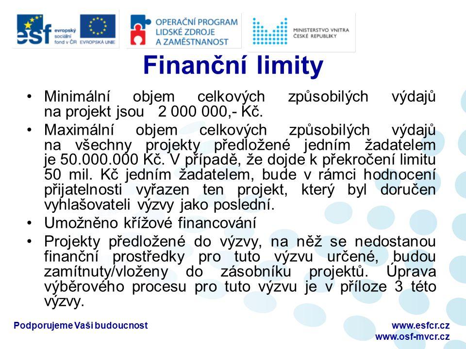 Finanční limity Minimální objem celkových způsobilých výdajů na projekt jsou 2 000 000,- Kč.