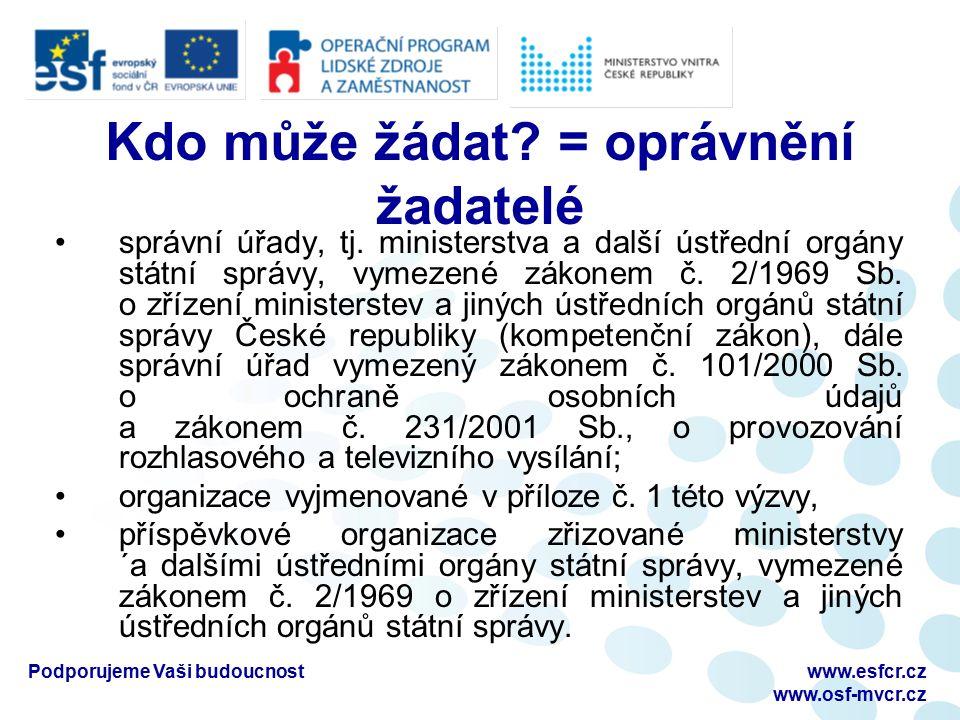 www.esfcr.cz www.osf-mvcr.cz Kdo může žádat. = oprávnění žadatelé správní úřady, tj.