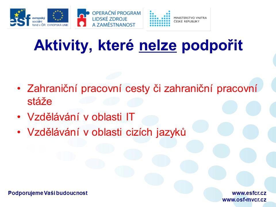 Podporujeme Vaši budoucnostwww.esfcr.cz www.osf-mvcr.cz Aktivity, které nelze podpořit Zahraniční pracovní cesty či zahraniční pracovní stáže Vzdělávání v oblasti IT Vzdělávání v oblasti cizích jazyků