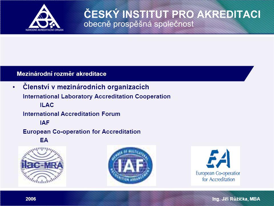 2006Ing. Jiří Růžička, MBA Mezinárodní rozměr akreditace Členství v mezinárodních organizacích International Laboratory Accreditation Cooperation ILAC