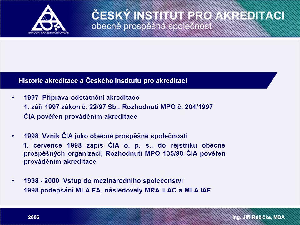 2006Ing. Jiří Růžička, MBA Historie akreditace a Českého institutu pro akreditaci 1997 Příprava odstátnění akreditace 1. září 1997 zákon č. 22/97 Sb.,