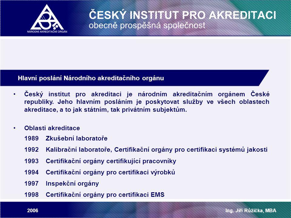 2006Ing. Jiří Růžička, MBA Hlavní poslání Národního akreditačního orgánu Český institut pro akreditaci je národním akreditačním orgánem České republik
