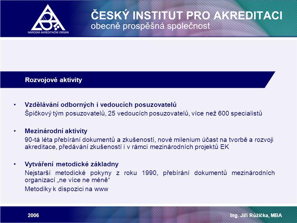 2006Ing. Jiří Růžička, MBA Rozvojové aktivity Vzdělávání odborných i vedoucích posuzovatelů Špičkový tým posuzovatelů, 25 vedoucích posuzovatelů, více