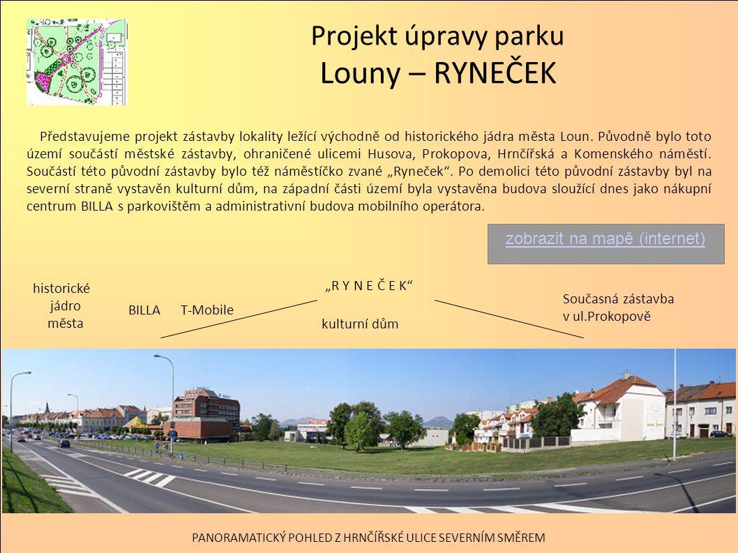 Projekt úpravy parku Louny – RYNEČEK Virtuální realita – pohled na park s plánovanou zástavbou rodinnými domky v ul.