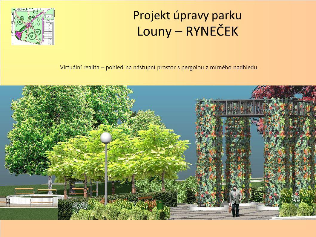 Projekt úpravy parku Louny – RYNEČEK Virtuální realita – pohled na nástupní prostor s pergolou z mírného nadhledu.