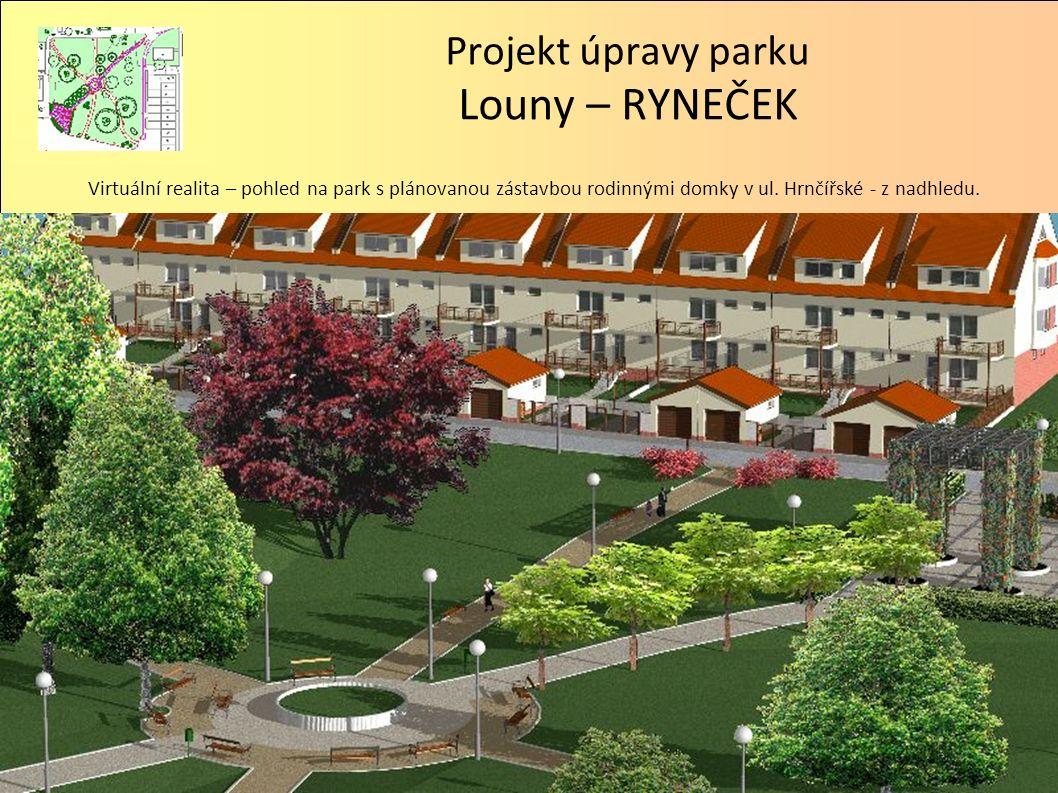 Projekt úpravy parku Louny – RYNEČEK Virtuální realita – pohled na park s plánovanou zástavbou rodinnými domky v ul. Hrnčířské - z nadhledu.