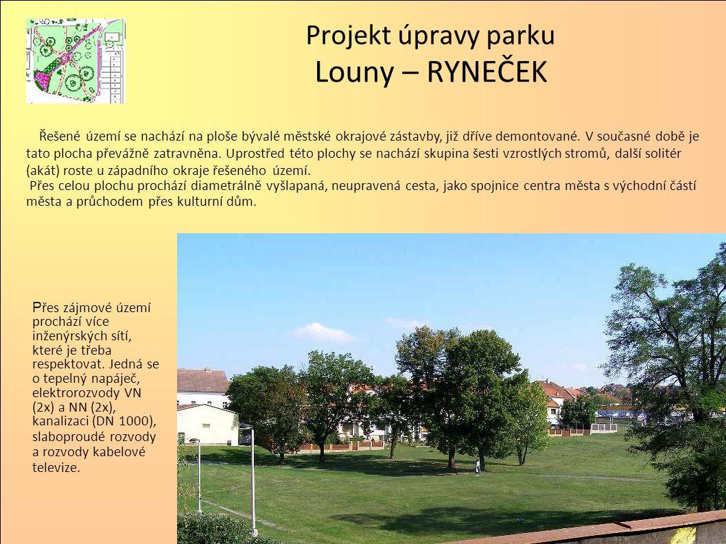 Parkové úpravy jsou založeny na principu anglického parku a zachování dvou stávajících cest, vzniklých přirozenou potřebou obyvatel města.