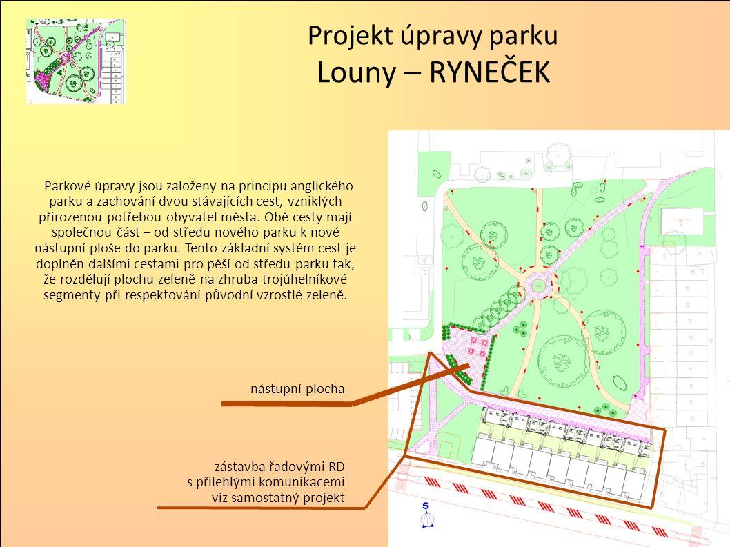Parkové úpravy jsou založeny na principu anglického parku a zachování dvou stávajících cest, vzniklých přirozenou potřebou obyvatel města. Obě cesty m