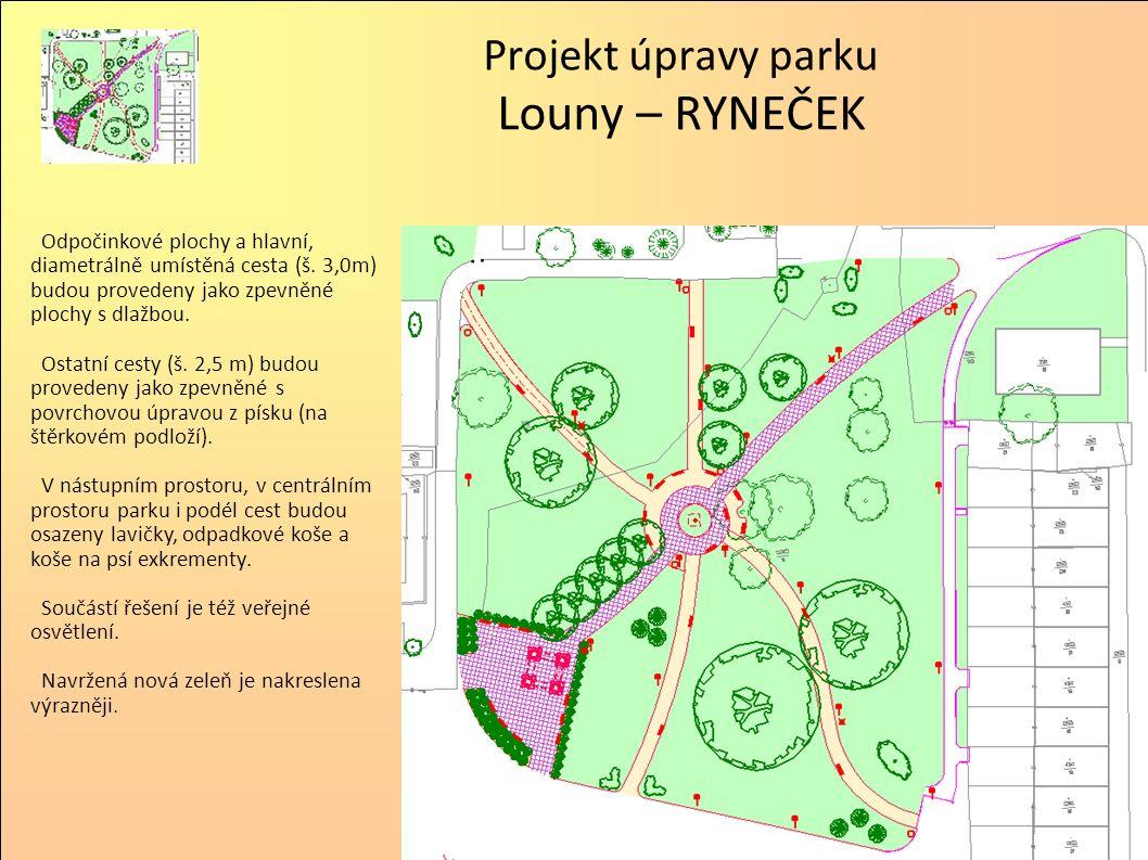 Projekt úpravy parku Louny – RYNEČEK Virtuální realita Pohled z budovy T-Mobilu.