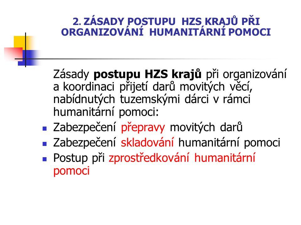 2. ZÁSADY POSTUPU HZS KRAJŮ PŘI ORGANIZOVÁNÍ HUMANITÁRNÍ POMOCI Zásady postupu HZS krajů při organizování a koordinaci přijetí darů movitých věcí, nab