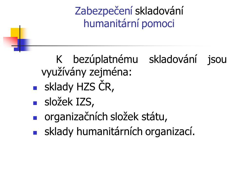 Zabezpečení skladování humanitární pomoci K bezúplatnému skladování jsou využívány zejména: sklady HZS ČR, složek IZS, organizačních složek státu, sklady humanitárních organizací.