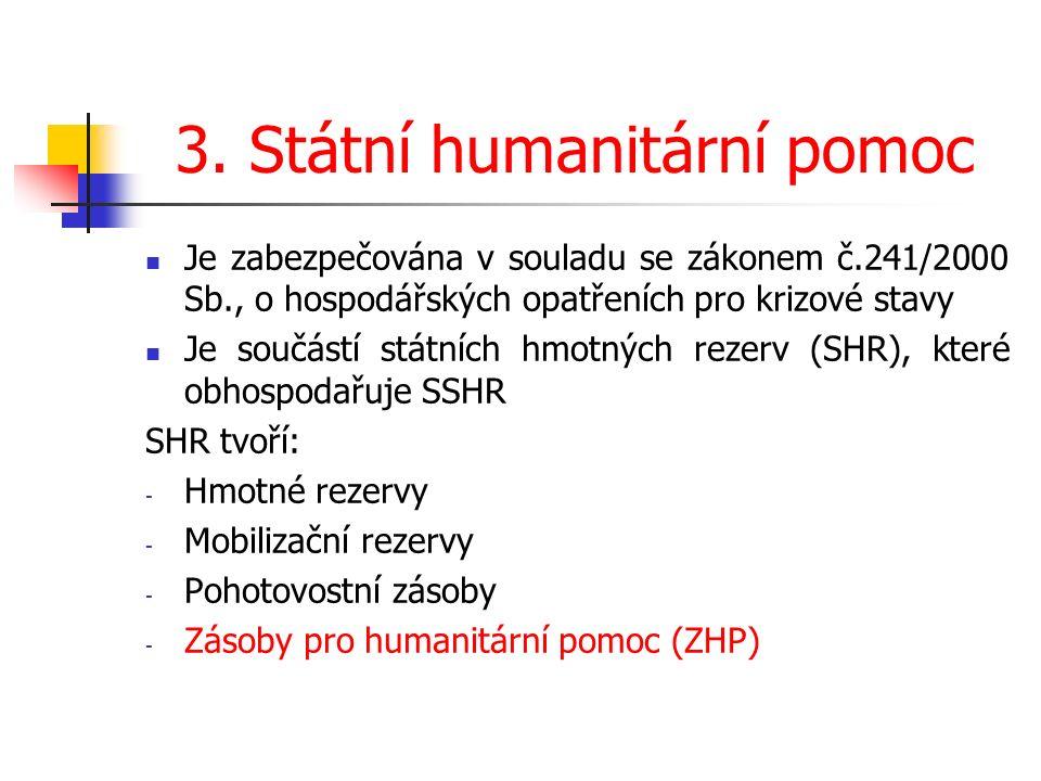 3. Státní humanitární pomoc Je zabezpečována v souladu se zákonem č.241/2000 Sb., o hospodářských opatřeních pro krizové stavy Je součástí státních hm
