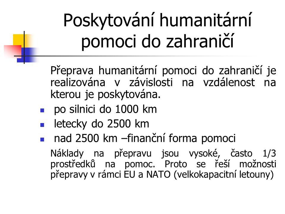 Poskytování humanitární pomoci do zahraničí Přeprava humanitární pomoci do zahraničí je realizována v závislosti na vzdálenost na kterou je poskytována.