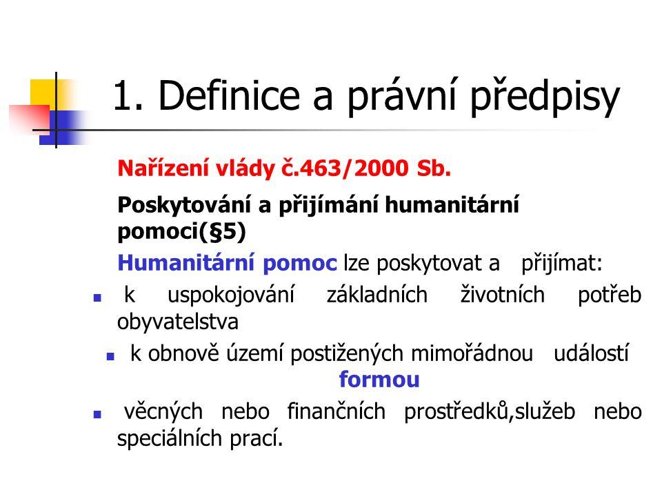 1. Definice a právní předpisy Nařízení vlády č.463/2000 Sb.