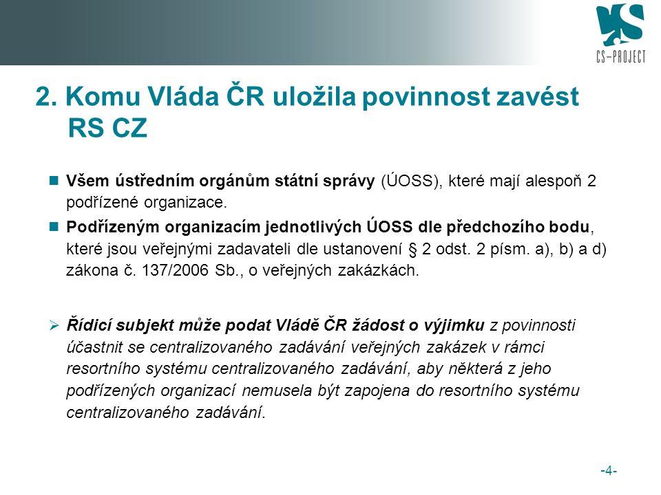 Všem ústředním orgánům státní správy (ÚOSS), které mají alespoň 2 podřízené organizace.