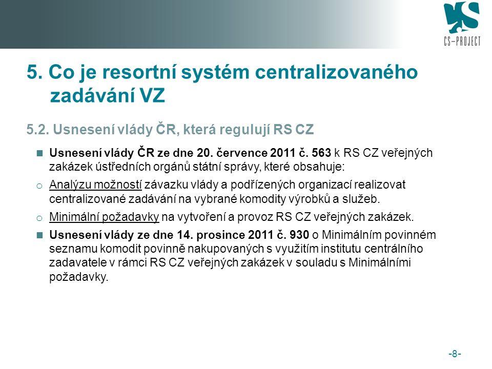 Na fungování resortních systémů centralizovaného zadávání se budou podílet především následující subjekty: řídicí subjekty (tj.