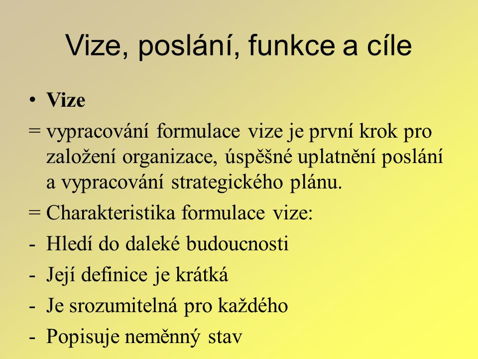 Vize, poslání, funkce a cíle Vize = vypracování formulace vize je první krok pro založení organizace, úspěšné uplatnění poslání a vypracování strategi
