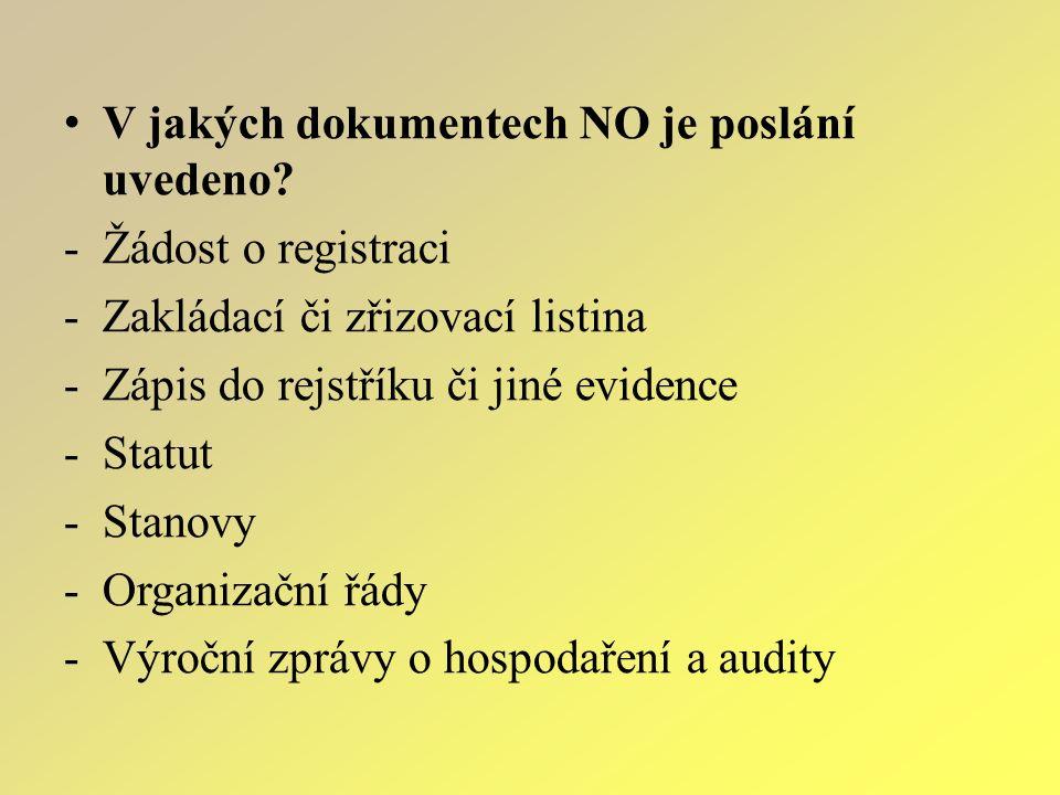V jakých dokumentech NO je poslání uvedeno? -Ž-Žádost o registraci -Z-Zakládací či zřizovací listina -Z-Zápis do rejstříku či jiné evidence -S-Statut