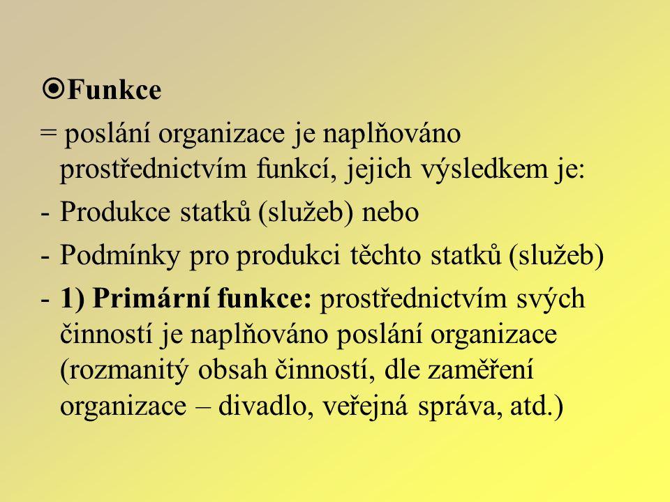  Funkce = poslání organizace je naplňováno prostřednictvím funkcí, jejich výsledkem je: -Produkce statků (služeb) nebo -Podmínky pro produkci těchto