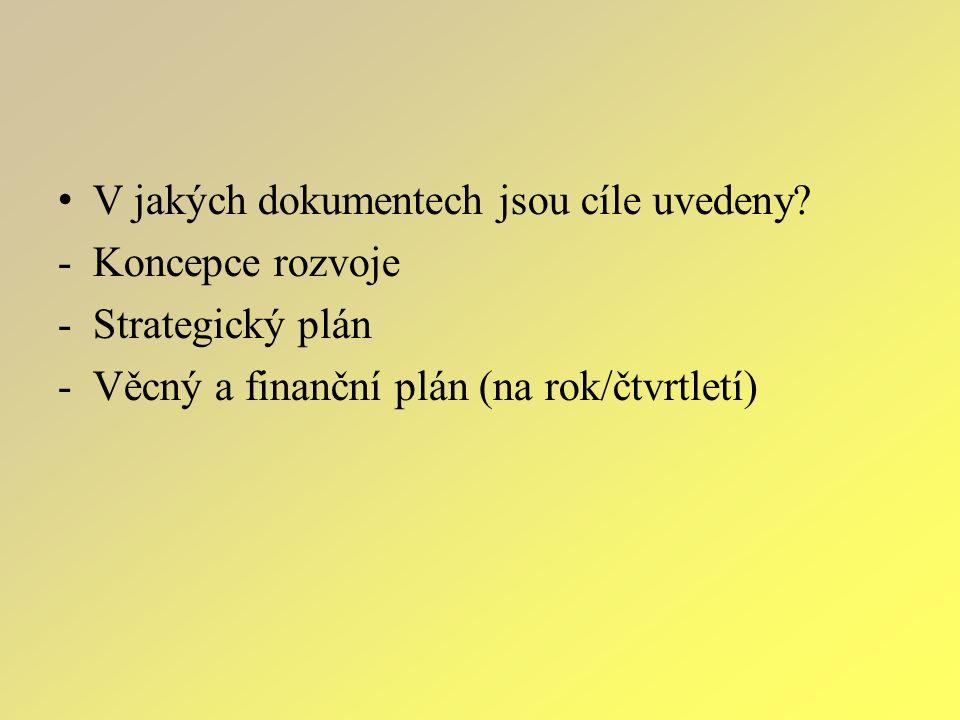 V jakých dokumentech jsou cíle uvedeny? -Koncepce rozvoje -Strategický plán -Věcný a finanční plán (na rok/čtvrtletí)
