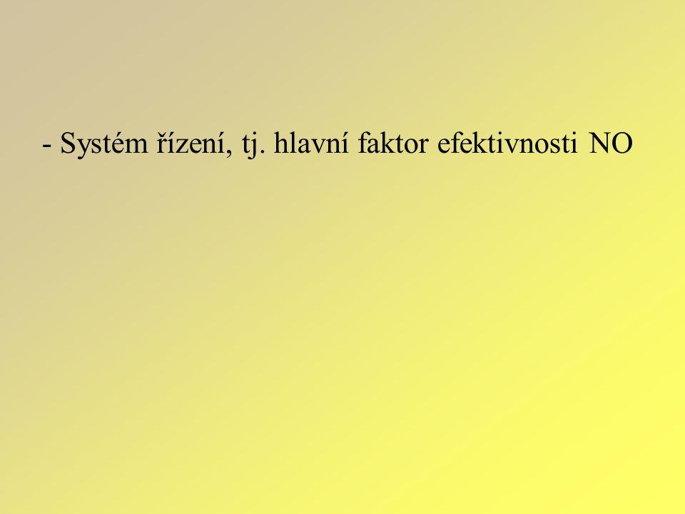 - Systém řízení, tj. hlavní faktor efektivnosti NO