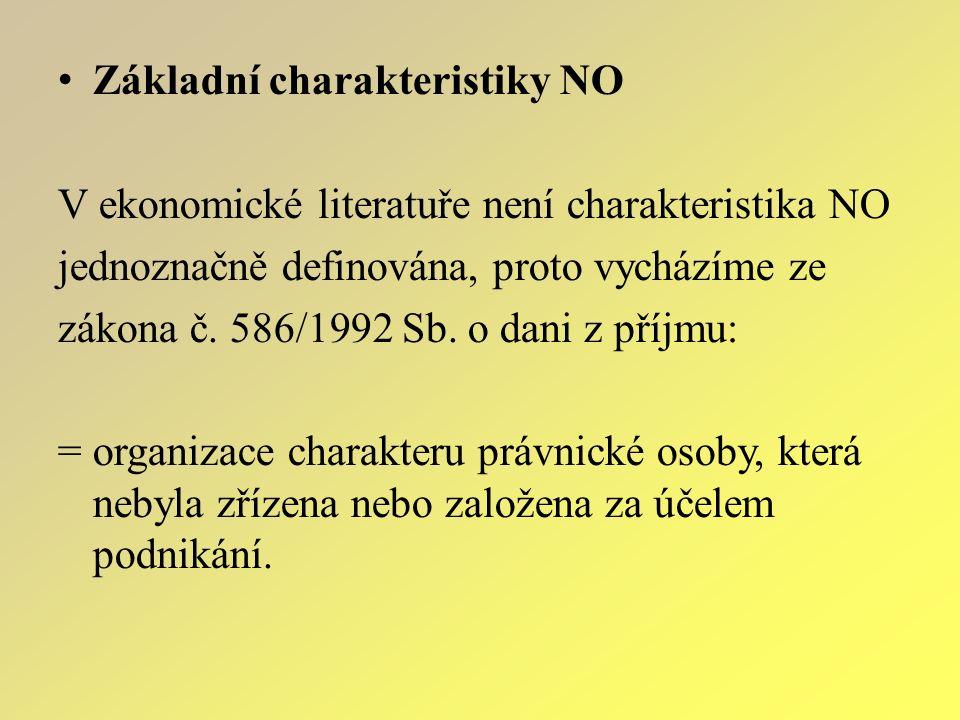 Z ákladní charakteristiky NO V ekonomické literatuře není charakteristika NO jednoznačně definována, proto vycházíme ze zákona č. 586/1992 Sb. o dani
