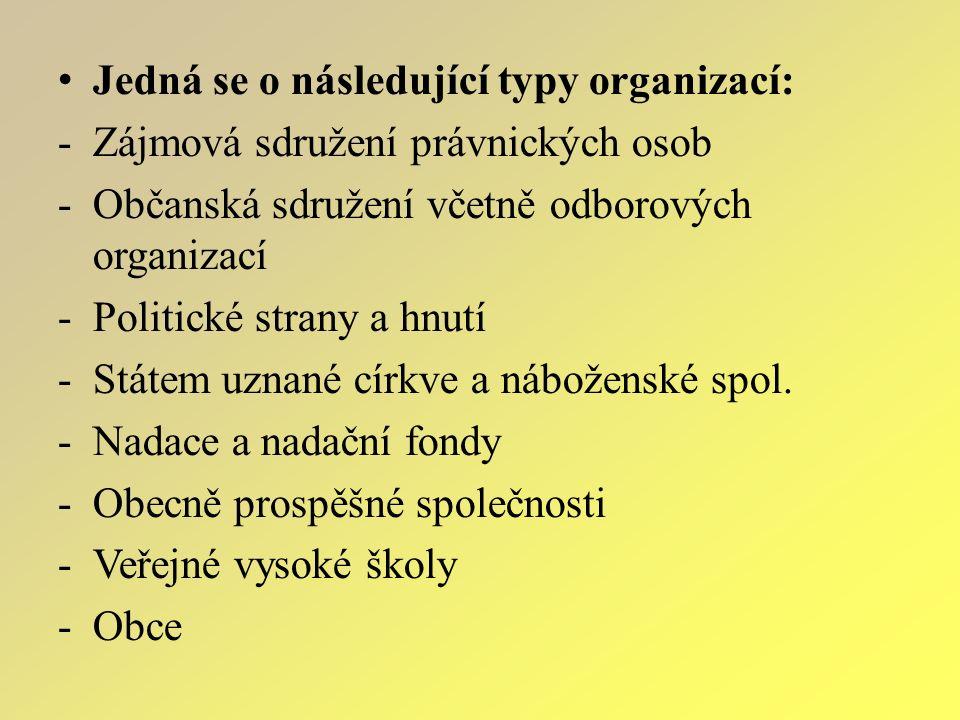 Jedná se o následující typy organizací: -Zájmová sdružení právnických osob -Občanská sdružení včetně odborových organizací -Politické strany a hnutí -Státem uznané církve a náboženské spol.