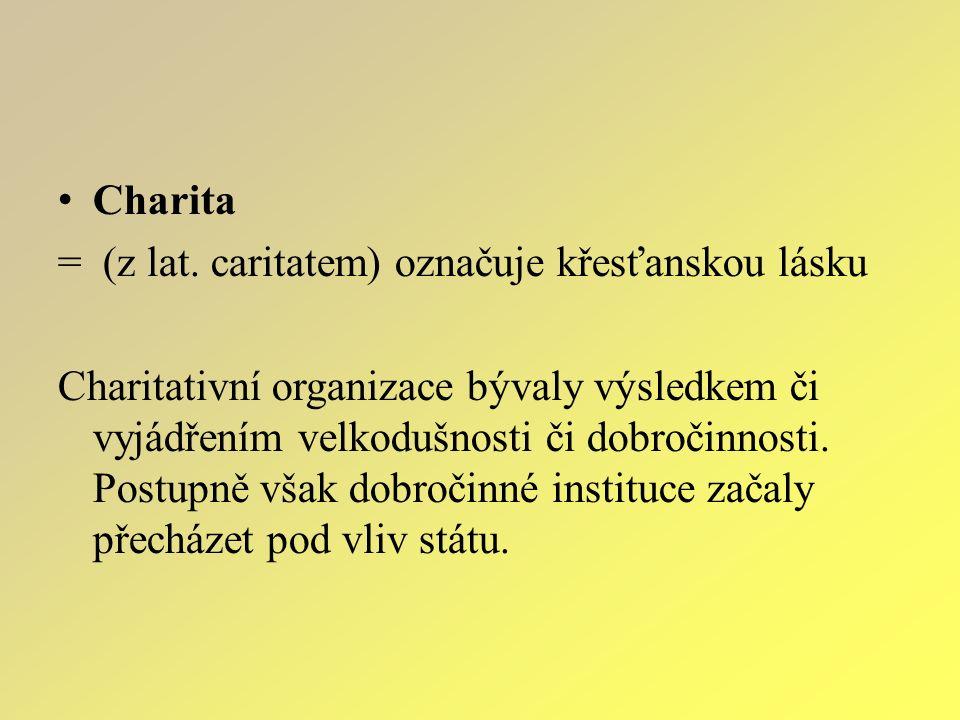 Charita = (z lat. caritatem) označuje křesťanskou lásku Charitativní organizace bývaly výsledkem či vyjádřením velkodušnosti či dobročinnosti. Postupn