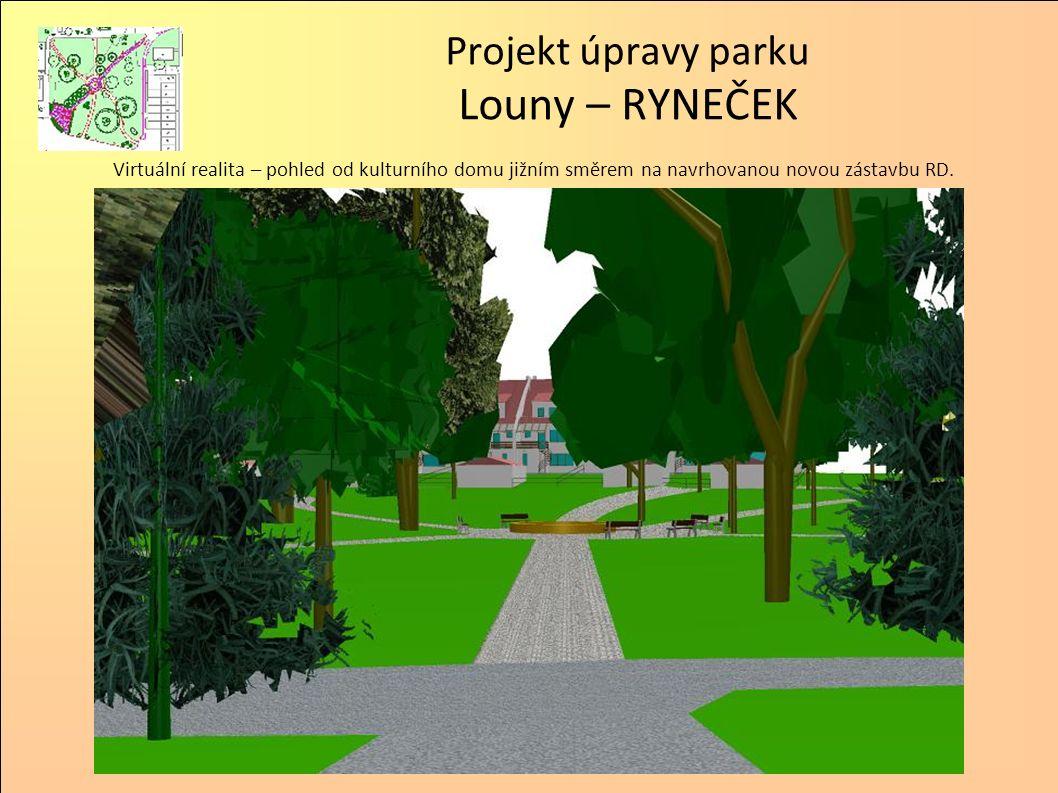 Projekt úpravy parku Louny – RYNEČEK Virtuální realita – pohled od kulturního domu jižním směrem na navrhovanou novou zástavbu RD.
