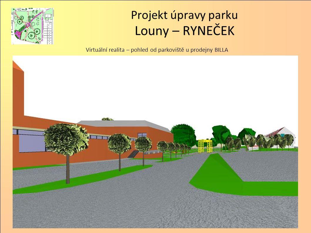 Projekt úpravy parku Louny – RYNEČEK Virtuální realita – pohled z jihovýchodního rohu parku směrem na T-Mobile