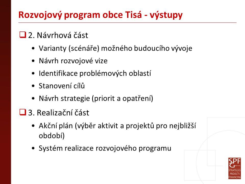 Rozvojový program obce Tisá - výstupy  2. Návrhová část Varianty (scénáře) možného budoucího vývoje Návrh rozvojové vize Identifikace problémových ob