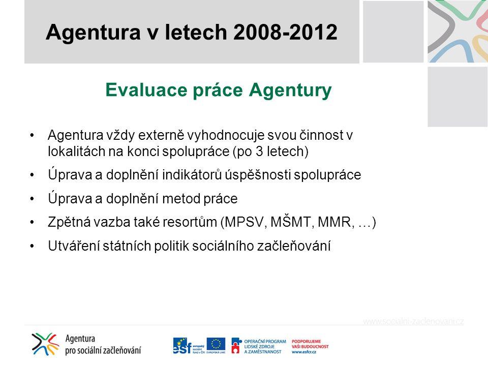 Evaluace práce Agentury Agentura vždy externě vyhodnocuje svou činnost v lokalitách na konci spolupráce (po 3 letech) Úprava a doplnění indikátorů úspěšnosti spolupráce Úprava a doplnění metod práce Zpětná vazba také resortům (MPSV, MŠMT, MMR, …) Utváření státních politik sociálního začleňování Agentura v letech 2008-2012