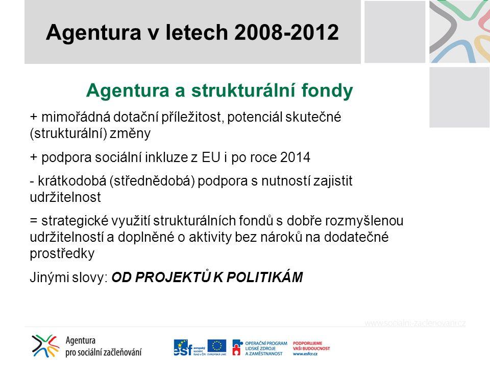 Agentura a strukturální fondy + mimořádná dotační příležitost, potenciál skutečné (strukturální) změny + podpora sociální inkluze z EU i po roce 2014 - krátkodobá (střednědobá) podpora s nutností zajistit udržitelnost = strategické využití strukturálních fondů s dobře rozmyšlenou udržitelností a doplněné o aktivity bez nároků na dodatečné prostředky Jinými slovy: OD PROJEKTŮ K POLITIKÁM Agentura v letech 2008-2012