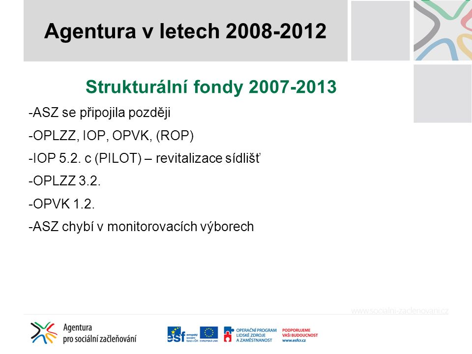 Strukturální fondy 2007-2013 -ASZ se připojila později -OPLZZ, IOP, OPVK, (ROP) -IOP 5.2.