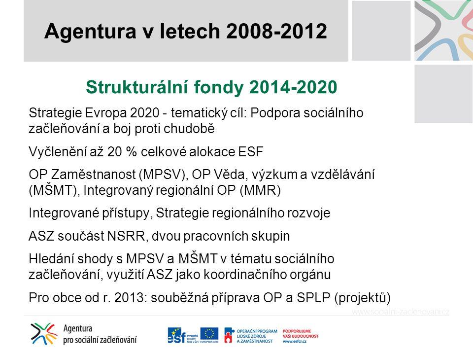 Strukturální fondy 2014-2020 Strategie Evropa 2020 - tematický cíl: Podpora sociálního začleňování a boj proti chudobě Vyčlenění až 20 % celkové alokace ESF OP Zaměstnanost (MPSV), OP Věda, výzkum a vzdělávání (MŠMT), Integrovaný regionální OP (MMR) Integrované přístupy, Strategie regionálního rozvoje ASZ součást NSRR, dvou pracovních skupin Hledání shody s MPSV a MŠMT v tématu sociálního začleňování, využití ASZ jako koordinačního orgánu Pro obce od r.
