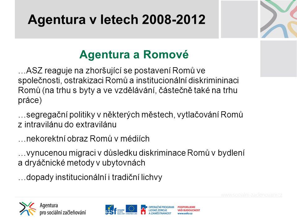 Agentura a Romové …ASZ reaguje na zhoršující se postavení Romů ve společnosti, ostrakizaci Romů a institucionální diskrimininaci Romů (na trhu s byty a ve vzdělávání, částečně také na trhu práce) …segregační politiky v některých městech, vytlačování Romů z intravilánu do extravilánu …nekorektní obraz Romů v médiích …vynucenou migraci v důsledku diskriminace Romů v bydlení a dryáčnické metody v ubytovnách …dopady institucionální i tradiční lichvy Agentura v letech 2008-2012