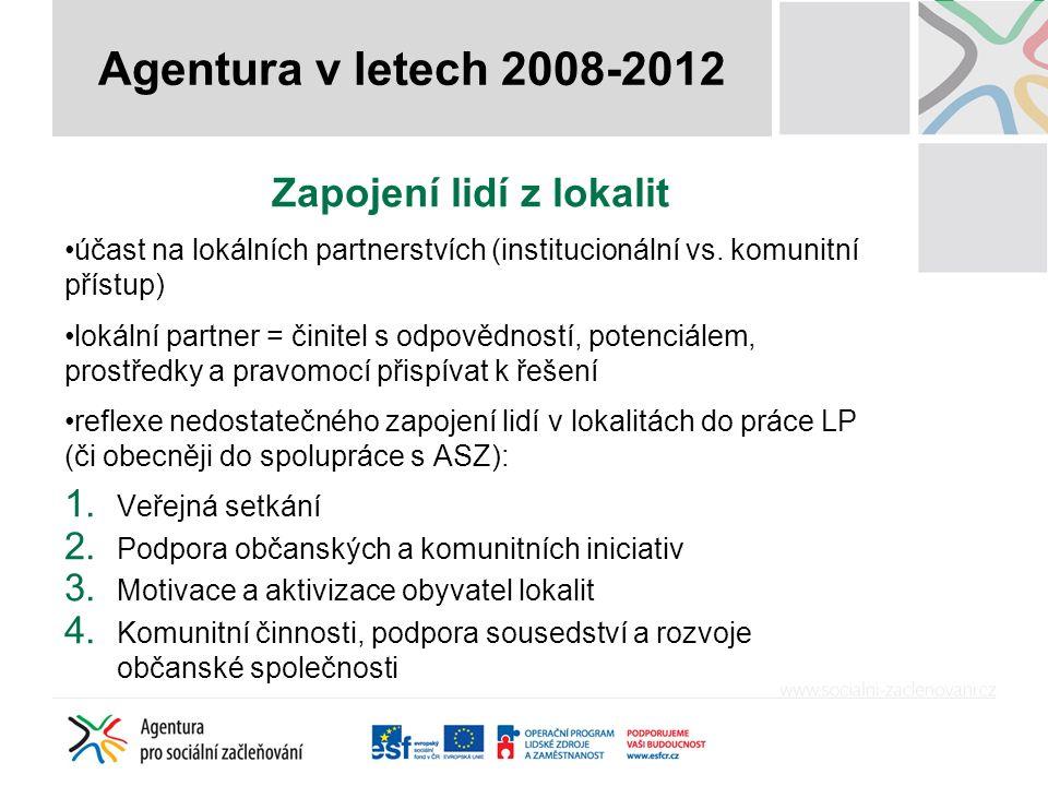 Zapojení lidí z lokalit účast na lokálních partnerstvích (institucionální vs.