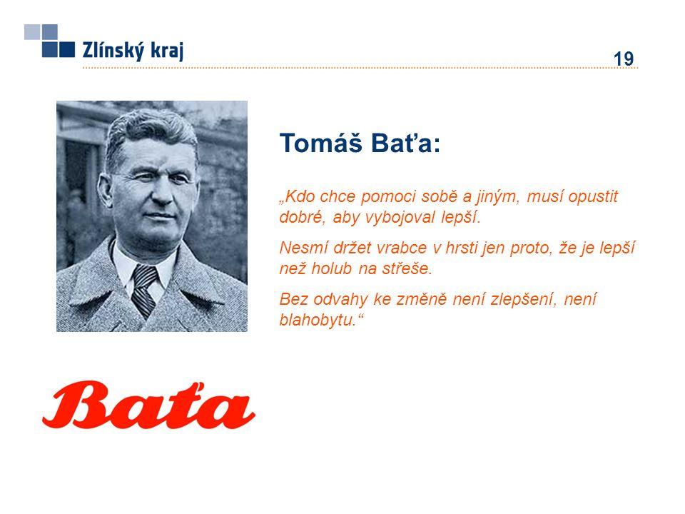"""19 Tomáš Baťa: """"Kdo chce pomoci sobě a jiným, musí opustit dobré, aby vybojoval lepší. Nesmí držet vrabce v hrsti jen proto, že je lepší než holub na"""