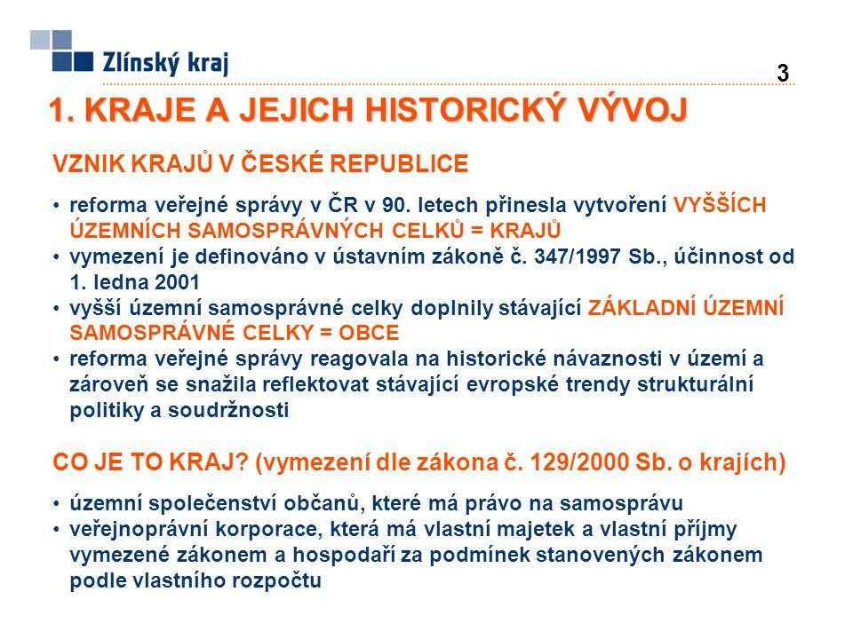 3 1. KRAJE A JEJICH HISTORICKÝ VÝVOJ VZNIK KRAJŮ V ČESKÉ REPUBLICE reforma veřejné správy v ČR v 90. letech přinesla vytvoření VYŠŠÍCH ÚZEMNÍCH SAMOSP