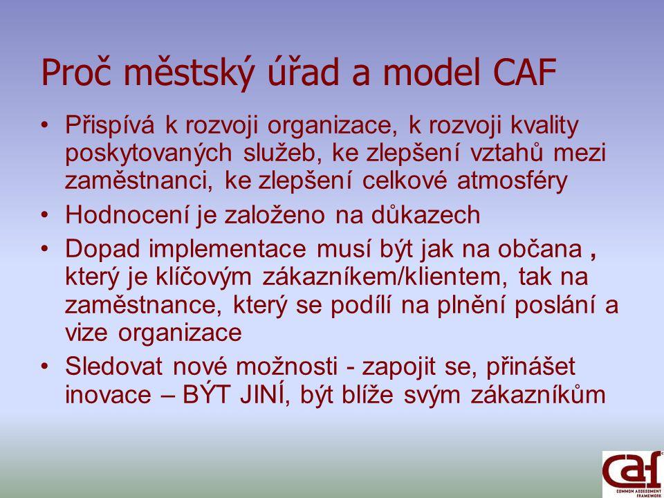 Co ocenili členové CAF týmu při tvorbě sebehodnotící zprávy.