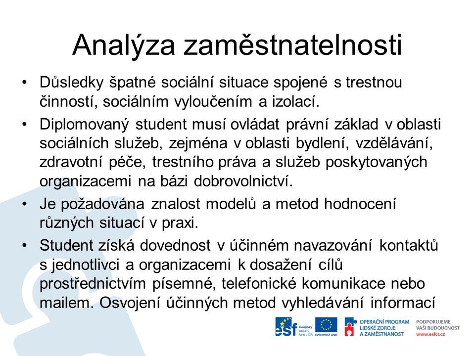 Analýza zaměstnatelnosti Důsledky špatné sociální situace spojené s trestnou činností, sociálním vyloučením a izolací.