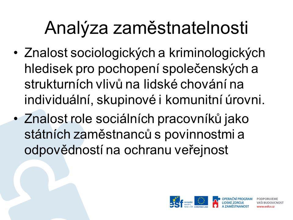 Analýza zaměstnatelnosti Znalost sociologických a kriminologických hledisek pro pochopení společenských a strukturních vlivů na lidské chování na individuální, skupinové i komunitní úrovni.