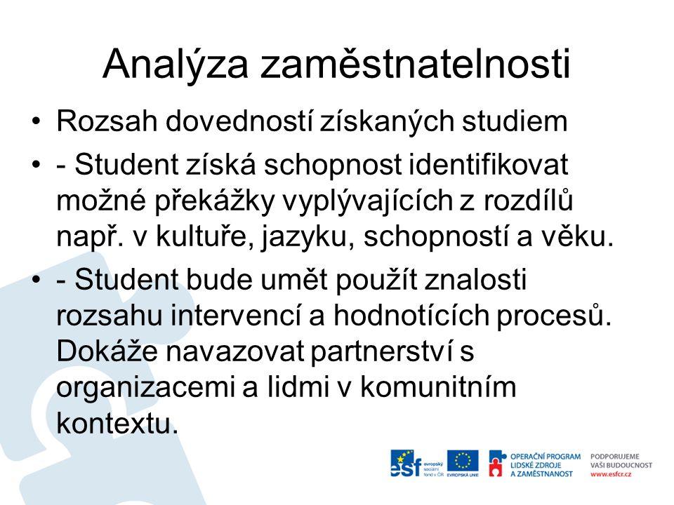 Analýza zaměstnatelnosti Rozsah dovedností získaných studiem - Student získá schopnost identifikovat možné překážky vyplývajících z rozdílů např.