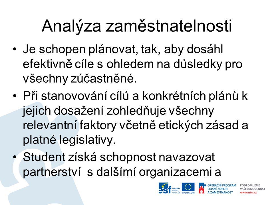 Analýza zaměstnatelnosti Je schopen plánovat, tak, aby dosáhl efektivně cíle s ohledem na důsledky pro všechny zúčastněné.