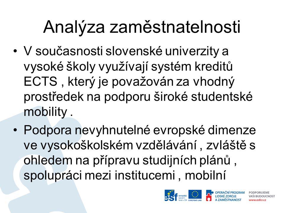 Analýza zaměstnatelnosti V současnosti slovenské univerzity a vysoké školy využívají systém kreditů ECTS, který je považován za vhodný prostředek na podporu široké studentské mobility.