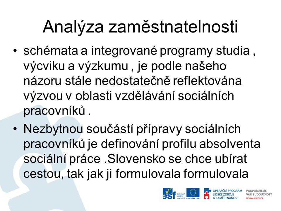 Analýza zaměstnatelnosti schémata a integrované programy studia, výcviku a výzkumu, je podle našeho názoru stále nedostatečně reflektována výzvou v oblasti vzdělávání sociálních pracovníků.