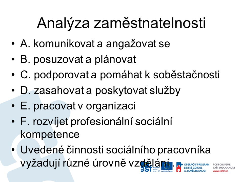 Analýza zaměstnatelnosti A. komunikovat a angažovat se B.
