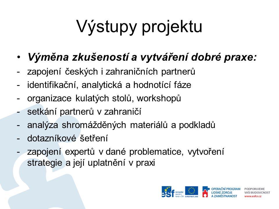 Výstupy projektu Výměna zkušeností a vytváření dobré praxe: -zapojení českých i zahraničních partnerů -identifikační, analytická a hodnotící fáze -organizace kulatých stolů, workshopů -setkání partnerů v zahraničí -analýza shromážděných materiálů a podkladů -dotazníkové šetření -zapojení expertů v dané problematice, vytvoření strategie a její uplatnění v praxi